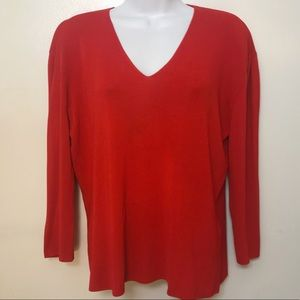 Cyrus XL women's classic red v neck 3/4 sleeve